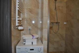 A bathroom at Lawendowy Apartment