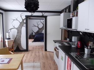 Majoituspaikan Warkhaus Apartments keittiö tai keittotila
