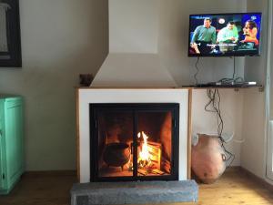 Una televisión o centro de entretenimiento en Verde y Nieve