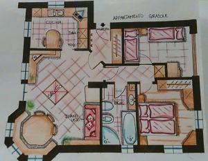 Půdorys ubytování Appartamento Girasole
