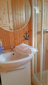 A bathroom at Thingvellir Lake Cottage