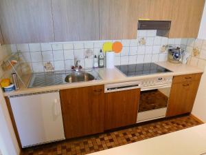Küche/Küchenzeile in der Unterkunft Apartment Parkhotel Arvenbühl.3