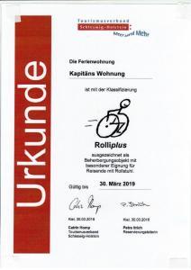 Ein Zertifikat, Auszeichnung, Logo oder anderes Dokument, das in der Unterkunft Kajüte Holtenau ausgestellt ist