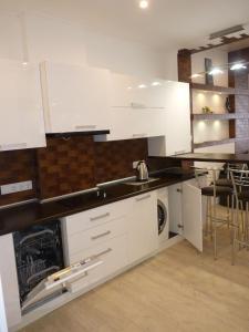 A kitchen or kitchenette at Apartment Katerina on Senyavina 5