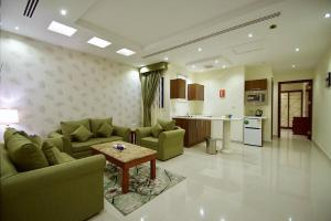 A seating area at Abat Suites