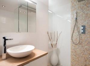 A bathroom at Beautiful Seaview Appartment at Scheveningen Beach!