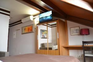 A television and/or entertainment centre at Hotel Apartamentos Don Juan I