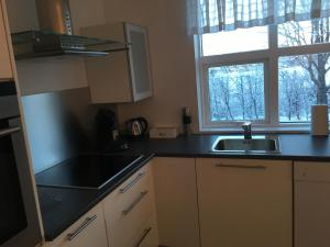 Kitchen o kitchenette sa Smárinn Apartment