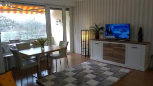 A television and/or entertainment center at Riverside flat