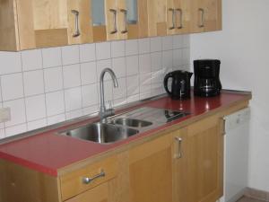 A kitchen or kitchenette at Cozy Apartment in Leubnitz-Neustra near River