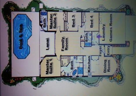 The floor plan of Tuscan Hills Disney Villa with Pool