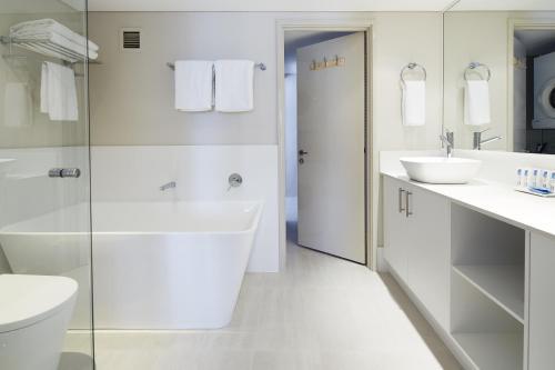 A bathroom at Seashells Scarborough