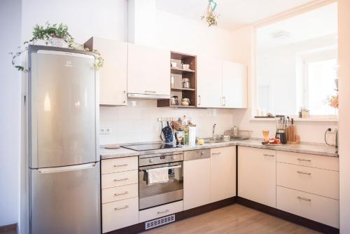 Kuchyňa alebo kuchynka v ubytovaní Hip Modern sanctuary in Prague center