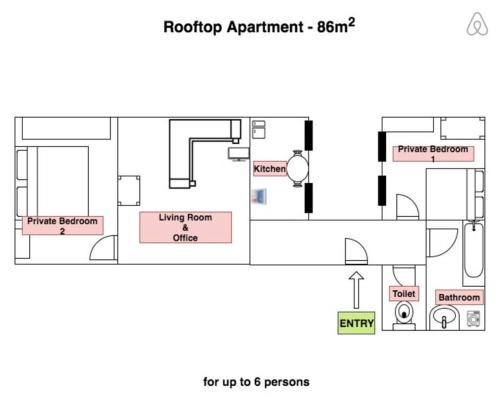 The floor plan of Leo's roof top apartment near town hall