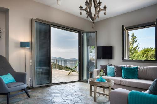 A seating area at Myrtos View Apartments