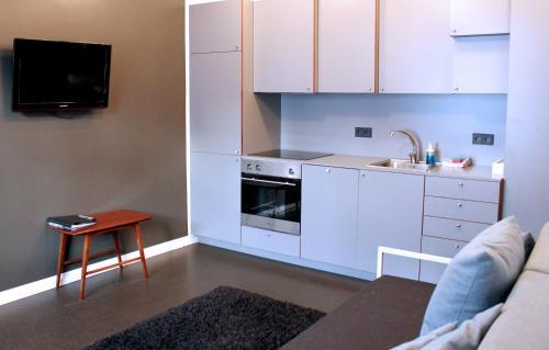 Een keuken of kitchenette bij Grettir Apartments
