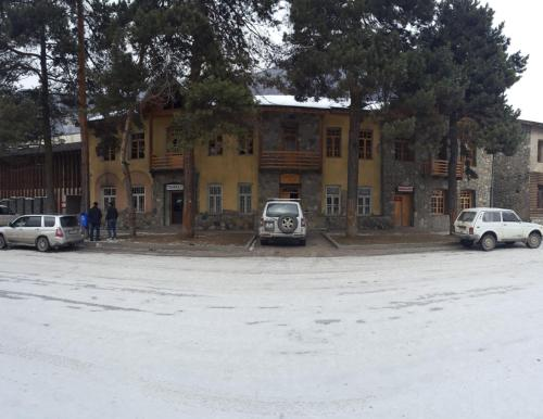 Guesthouse with Pine Trees during the winter