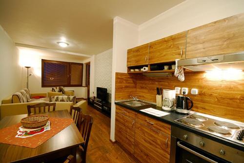 Kuchyň nebo kuchyňský kout v ubytování Apartments Ski & Sun