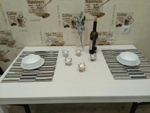 Кухня или мини-кухня в Apartaments na Flotskoy
