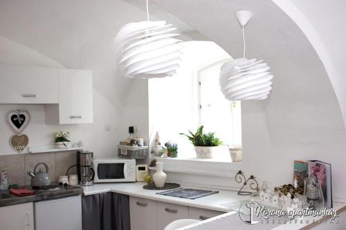 A kitchen or kitchenette at Korona Apartman Székesfehérvár