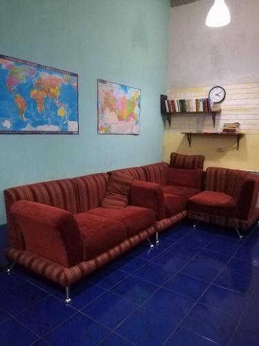A seating area at А 54 Hostel
