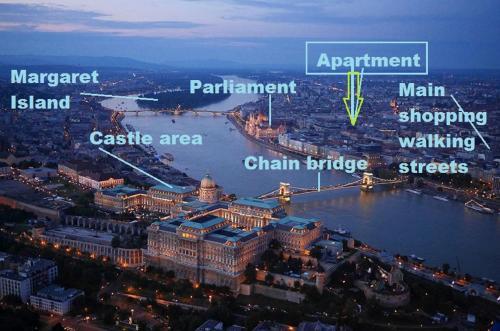 Pohľad z vtáčej perspektívy na ubytovanie Full Center, Chain bridge, Basilica