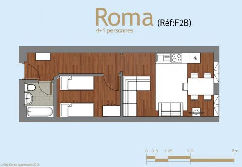 The floor plan of City Center Apartements Fourche