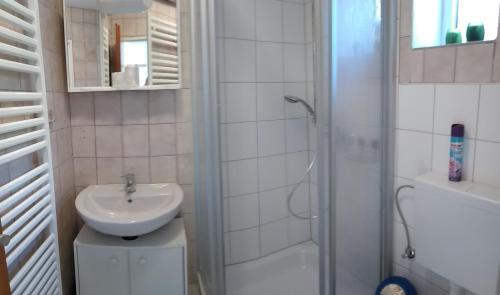 Ein Badezimmer in der Unterkunft FeWo24-Prasdorf
