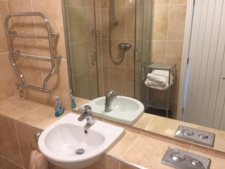 A bathroom at The Corbyn Apartments