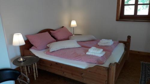 Ein Bett oder Betten in einem Zimmer der Unterkunft Bio Ferienwohnung