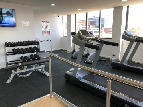 The fitness center and/or fitness facilities at High end riverside apartment in Parramatta CBD