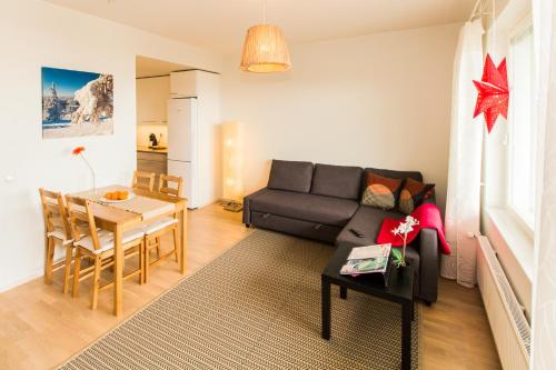 Кът за сядане в Helppo Hotelli Apartments Rovaniemi