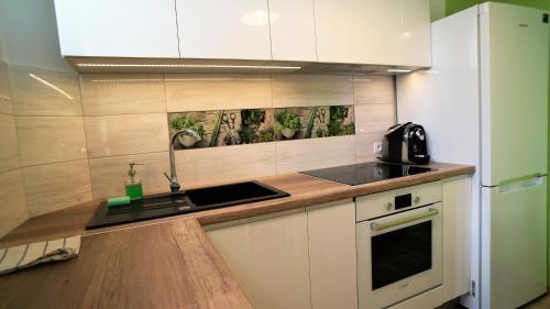 Dapur atau dapur kecil di Holiday Apartments Cracow