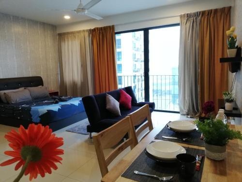 A seating area at Peanut House @ Trefoil Setia Alam