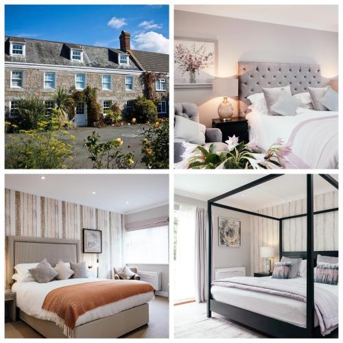 Een bed of bedden in een kamer bij Hotel Hougue du Pommier