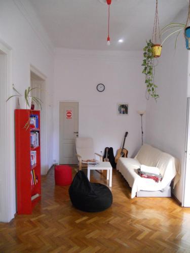 A seating area at Traveling Ladybug Hostel
