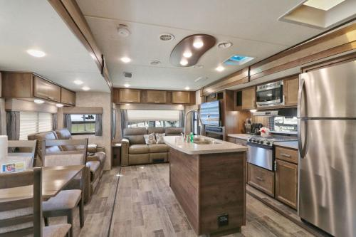 A restaurant or other place to eat at Sunshine Key King Travel Trailer 5