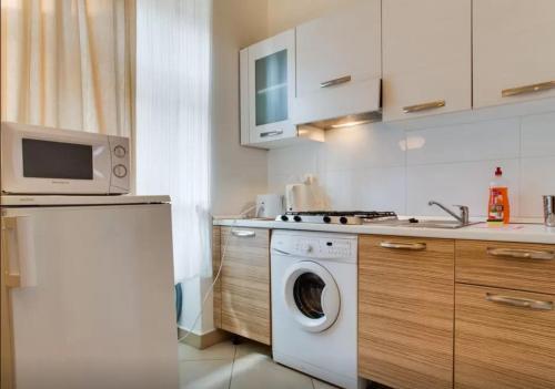 Cuisine ou kitchenette dans l'établissement Apartments U Staropramenu