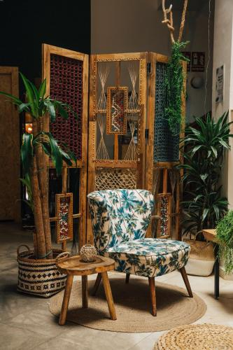 A seating area at The Urban Jungle Hostel