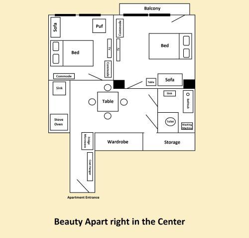 The floor plan of Apartment Stepanska 37