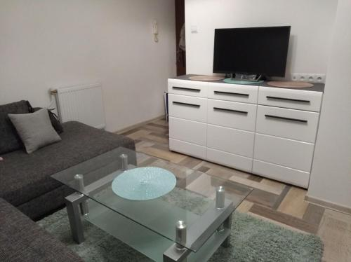 Televízia a/alebo spoločenská miestnosť v ubytovaní Študio-Košice