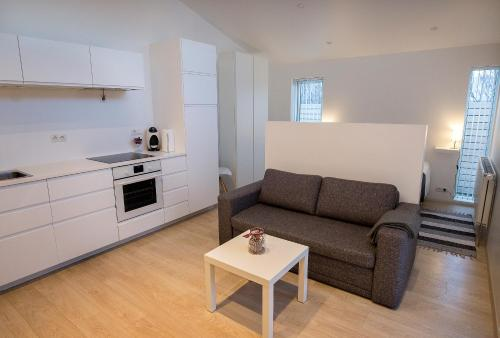 A kitchen or kitchenette at Apartment by the Sea near Reykjavik Center