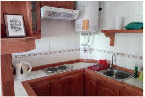 Una cocina o zona de cocina en Acogedor departamento Pucón camino al volcán