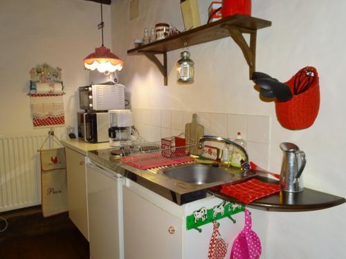 Cuisine ou kitchenette dans l'établissement Les Gîtes du Bouyssou