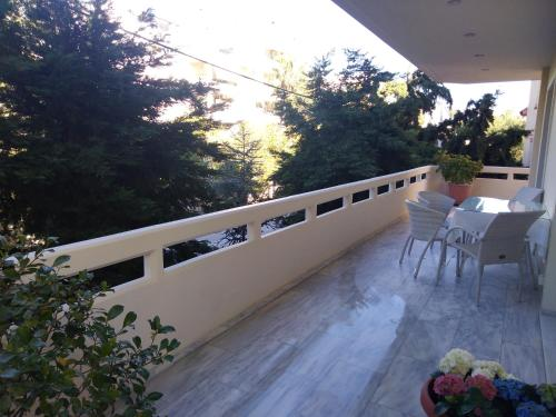 A balcony or terrace at Classic Lux Apt, Athens Riviera