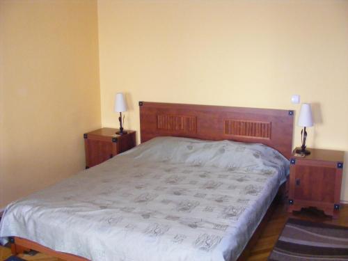 Uma cama ou camas num quarto em Garsoniera Central Sibiu