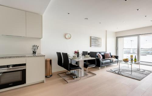 A television and/or entertainment center at Platinum Apartments next to O2 Arena