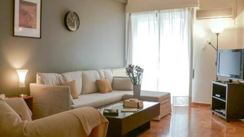 A seating area at Athenian apartment in Kolonaki