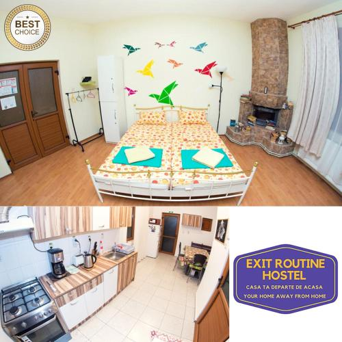 A bed or beds in a room at Exit Routine Hostel