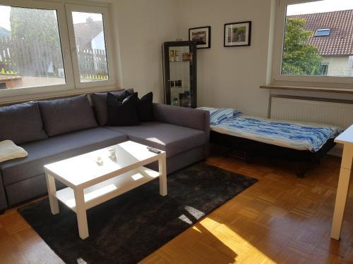 Ein Sitzbereich in der Unterkunft Ferien in Neuffen - Ferienwohnung Plaue